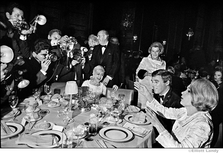 038 Marlene Dietrich, opening night party, asks photographers to stop, NYC, 1968