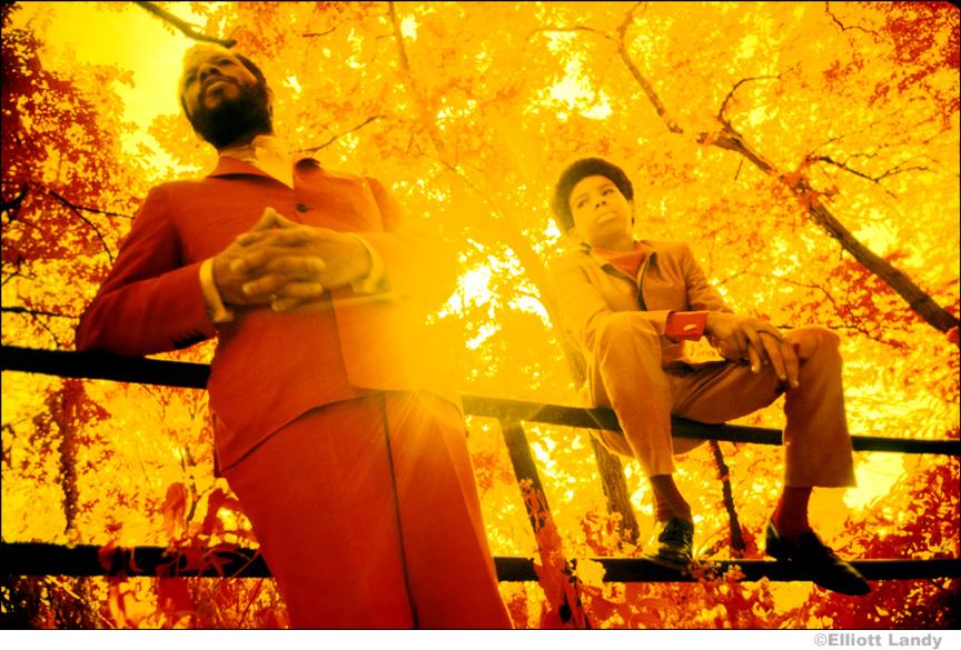 153 Ornette Coleman & son, Aero. Infrared color film. Central Park, NYC, 1969