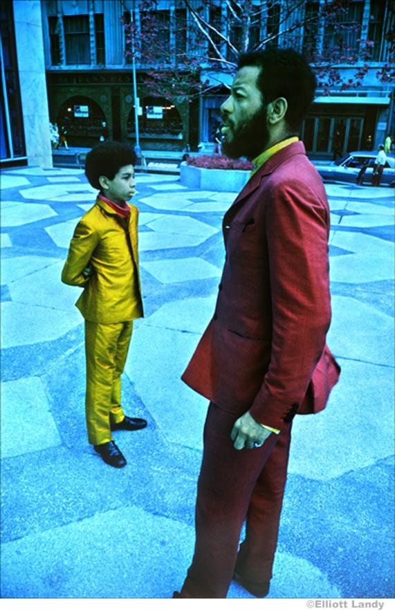 154 Ornette Coleman & son, Aero. Infrared color film. NYC, 1969