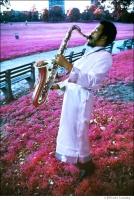 148 Albert Ayler, Prospect Park, Brooklyn, NY 1969. %22New Grass%22 album shoot, Free Jazz, Kodak Aero infrared film, ABC Records,