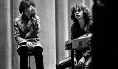105 Robbie Krieger, Jim Morrison, The Doors, after concert, Hunter College, NYC, 1968