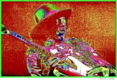 Jimi Hendrix, pixelated photographic image from a photo taken at Fillmore East