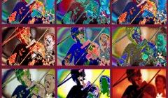 478 Maria Muldaur, Jim Kweskin Jug Band. Pixelated photographic image from a photo taken at Fillmore East, NYC, 1968