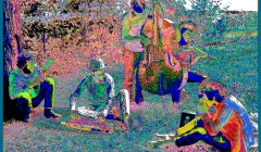 484 The Band, pixelated photographic image from a photo taken at Richard & Garth's house above the Ashokan resevoir, Woodstock, 1969
