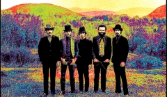 486 The Band, pixelated photographic image from a photo taken for the Music From Big Pink album, Bearsville, Woodstock NY, 1968