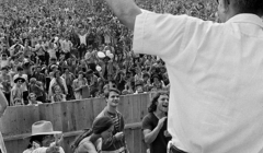 395 Max Yasgur, Martin Scorcese (below) returning Max's Peace sign, Woodstock Festival 1969, NY