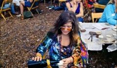 401 Janis Joplin in the performer's pavilion, Woodstock Festival 1969, NY
