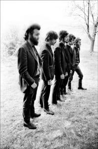 The Band, Levon and Rick's house, Bearsville, Woodstock NY, 1968. L to R: Garth Hudson, Rick Danko, Robbie Robertson, Richard Manuel, Levon Helm.
