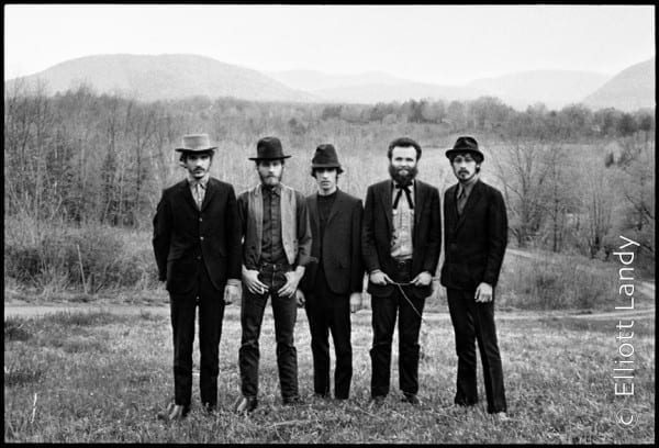 The Band, Music From Big Pink album photograph, Bearsville, Woodstock NY, 1968. Photo By ©Elliott Landy, LandyVision Inc. Robbie Robertson, Richard Manuel, Rick Danko, Garth Hudson, Levon Helm.