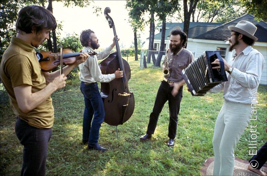 The Band, Richard & Garth's house above the Ashokan resevoir, Woodstock, 1969. Photo By ©Elliott Landy, LandyVision Inc. Robbie Robertson, Richard Manuel, Rick Danko, Garth Hudson, Levon Helm.