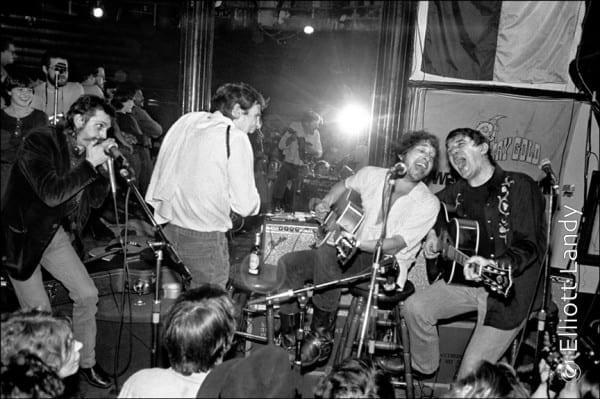 Levon Helm, Bob Dylan, Rick Danko w. Shredni Volper, Lone Star Cafe, NYC, 1983. Photo By ©Elliott Landy, LandyVision Inc.