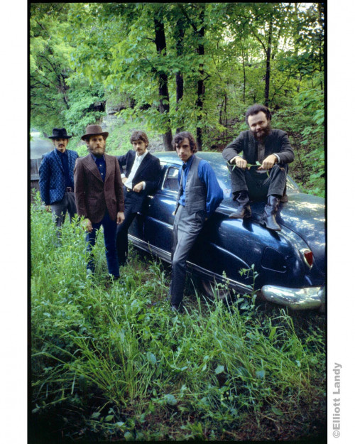he Band, outside Rick Danko's Zena home, posing with his Hudson, Woodstock, NY, 1969. Rick Danko, Levon Helm, Robbie Robertson, Richard Manuel, Garth Hudson