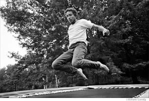 Bob Dylan Prints - On trampoline at his Ohayo Mountain Rd. home, Woodstock, NY, 1969.